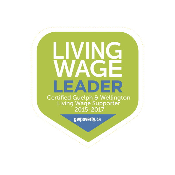 Living Wage Leader, Certified Guelph and Wellington Living Wage Supporter 2015-2017